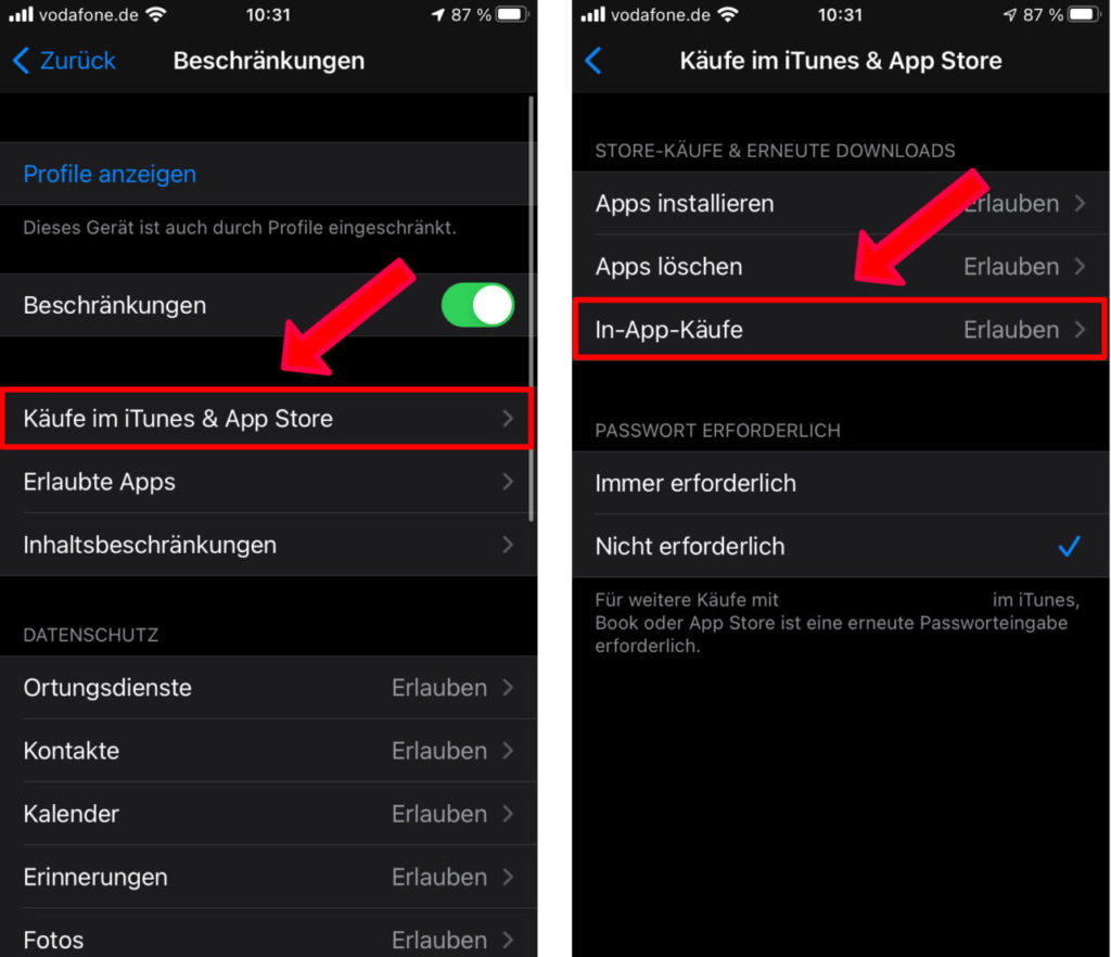 Käufe im iTunes & App Store und dann In-App-Käufe
